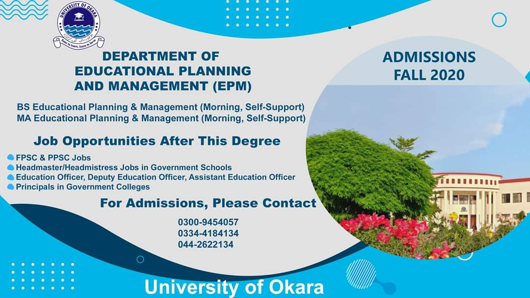 Department of Educational Planning & Management Admissions!